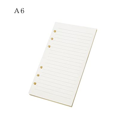 Papel de recambio para cuadernos tamaño A5 A6 A7 con 6 agujeros, para cuadernos de hojas sueltas y páginas interiores de cuadernos con 45 hojas, color ...