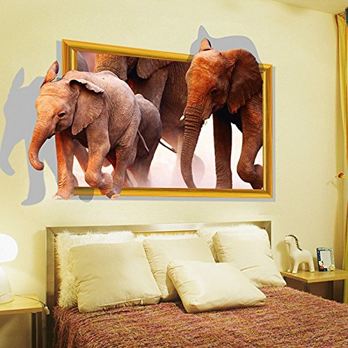 3D African Elephants Wall Decal Home Sticker PVC Murals Vinyl Paper House Decoration WallPaper Living Room Bedroom Kitchen Art Picture DIY for kids Teen Senior Adult Nursery Baby (House Pictures)
