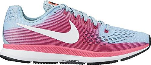 NIKE Women's Air Zoom Pegasus 34 Running Shoe Wide Mica Blue/White/Racer Pink/Sport Fuchsia Size 7.5 Wide US