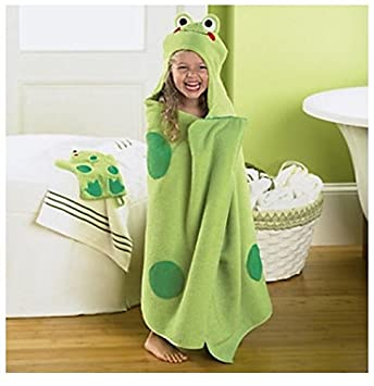 Amazoncom Jumping Beans Frog Hooded Bath Towel in Green Baby