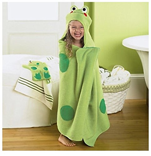 Jumping Beans Frog Hooded Bath Towel, in Green (Hooded Towel Kids)