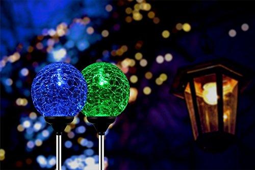 Solar Globe Lights, OxyLED Crystal Glass LED Light/Solar Stake Light, Color-Changing Outdoor Landscape Garden Light Decoration, Garden Decor, SL75 (2 Pack) (Solar Stakes Globe)