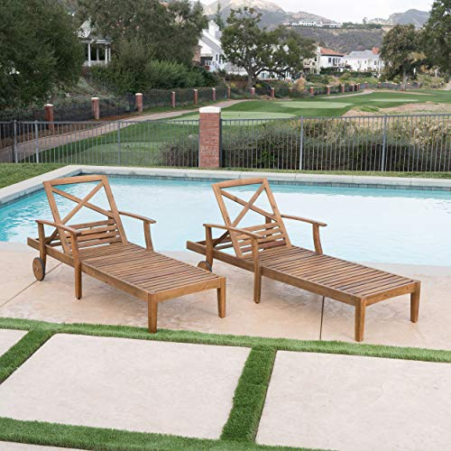 Great Deal Furniture Thalia Outdoor Teak Finished Acacia Wood Chaise Lounge (Set of 2) by Great Deal Furniture (Image #3)