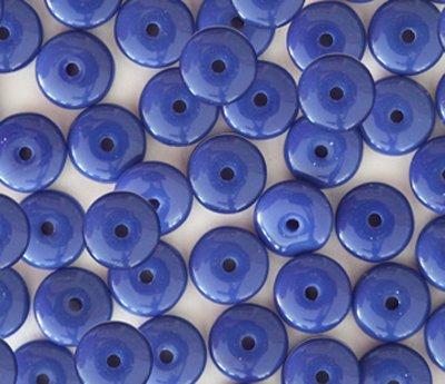 - Royal Blue Opaque Czech Glass Rondelle Wafer Disc Beads 8mm