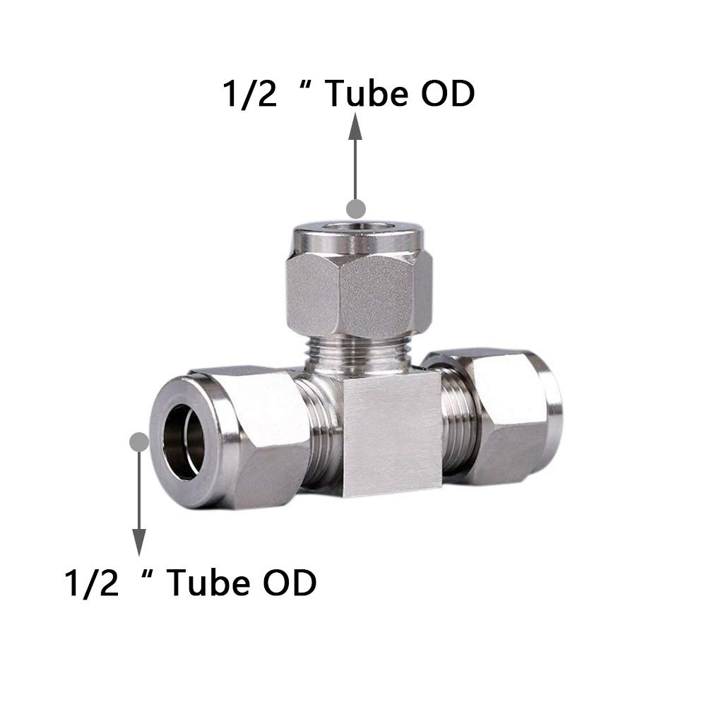 Beduan 304 Stainless Steel Compression Fitting Ferrule Sleeve 1//2 Tube OD Double Ferrule Ring Tubing Fitting(Pack of 10