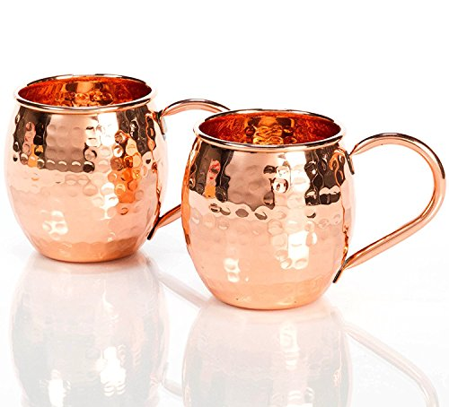 Om Creation 100% Solid Copper Moscow Mule Mugs Hammered Barrel, 16 Oz. Each| Handcrafted Set of 2 ()