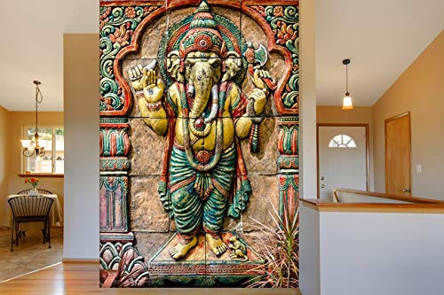 999Store 3D Lord Ganesha Mural Wallpaper (Non-Wooven_8X10 Feet_Pink)