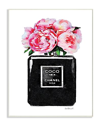 The Stupell Home Décor Collection Glam Perfume Bottle Flower Black Peony Pink Wall Plaque Art, 10 x ()