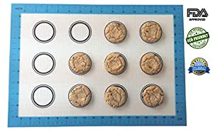 Silicone Baking Mat Set of 2 with Measurements and Cookie Circles - Non Stick, Heat Resistant - Pan and Oven Sheet. Fits Half Sheet, 16-5/8 X 11 Inch. Bakeware for Cookies, Macaron, Pastry.