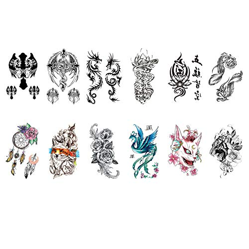 TAFLY Temporary Tattoo Wings Cross Dragon Feather Rose Tiger Fox Sexy Tattoo for Women Men 12 Sheets
