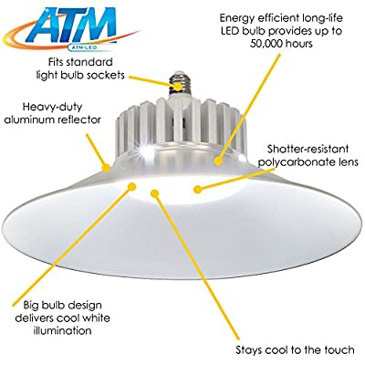 ATM-LED 50W Energy-Efficient 6000K Daylight LED Replacement Utility Bulb with Aluminum Reflector, 5500 Lumens, Garage, Basement, Workshop or Shed, Choose an Option
