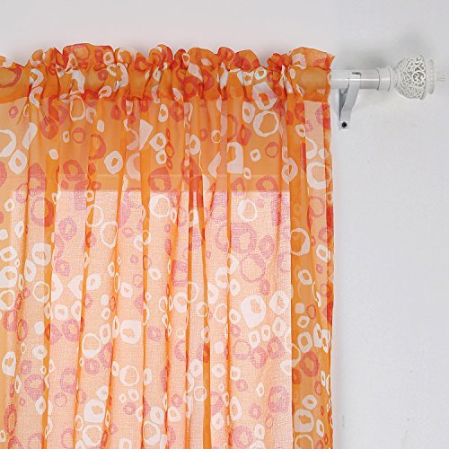 Deconovo Bubbles Circle Printed Linen Look French Door Curtains Rod Pocket Sheer Window Curtain for Kids Room 42×84 Orange and Red 2 Panels