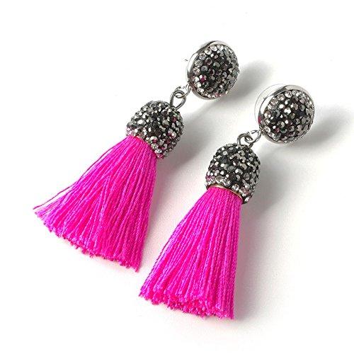 (Women's Dangle Drop Short Tassel Earrings with Shell Pearl Black Rhinestone)