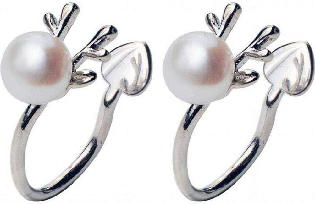 WOZUIMEI Pendiente Colgante Eardrop Stud Pendiente S925 Tremella Clip Mujer Lindo Asta Pendientes Perlas Artificiales sin Pendientes Joyería de Oreja de Venado para Mujeres