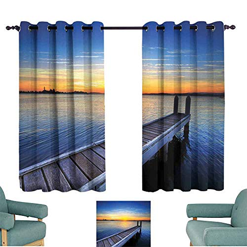 Mannwarehouse Lake Breathable Curtain Tranquil Summer View of Setting Sun on The Horizon of Lake Macquarie in Belmont Set of Two Panels 63