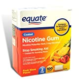 Equate - Nicotine Gum 2 mg, Coated, Fruit Flavor, 100 Pieces by Equate