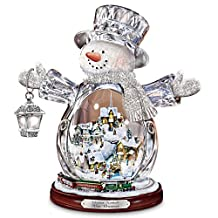 Thomas Kinkade Crystal Snowman Figurine Featuring Light-Up Village And Animated Train by The Bradford Exchange