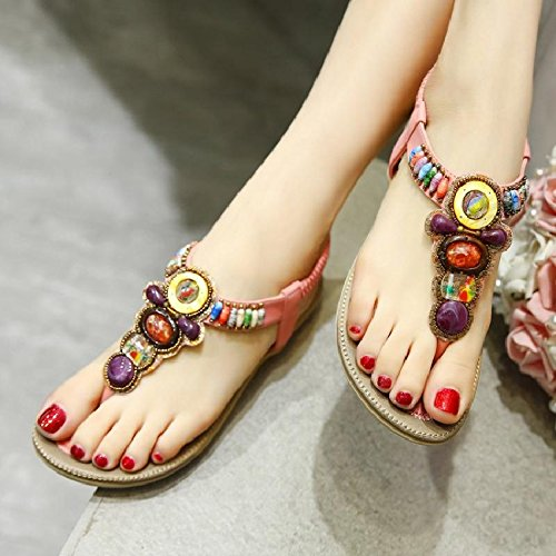antiscivolo da C confortevole YMFIE estate piatte perline sandali con donna bohemien confortevole per spiaggia estate Scarpe Cqt5xwtp