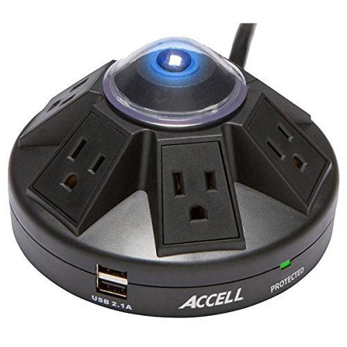 Accell Powramid 6 Outlet Surge Protector with 2x USB Charging Ports, UL Listed, 2.1A USB Output, 6ft Cord, Black