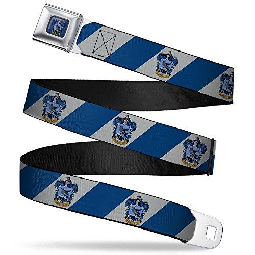 (Buckle-Down Seatbelt Belt - RAVENCLAW Crest Diagonal Stripe Gray/Blue - 1.5