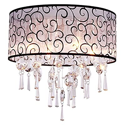 ANNT Drum, Modern/Contemporary Transparent Crystal Chandelier with 4 Lights Flush Mount