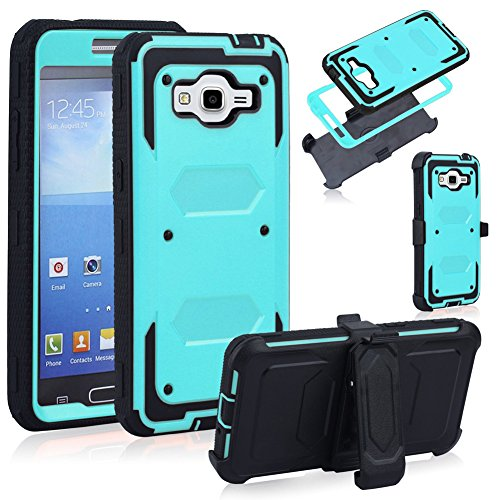 Galaxy J3 Case, J3 Case, Ranyi [Armor box] [full body] [Rugged Robot] Heavy Duty Dual Layer Holster Case kickstand with Belt Clip 3 in 1 Defender for Samsung Galaxy J3 (mint)