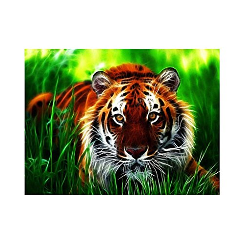 (Xuanhemen Rhinestone Embroidery Tiger Grass Handmade Painting 5D DIY Crystal Animal Cross Stitch Resin Picture Home Decoration)