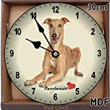 Personalized Greyhound Dog Pets Wooden Wall Clock Shabby Vintage Silent Non-ticking Wall Clocks Decorative for Living Room Bedrooms Home Decor Wall Art 12in
