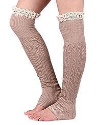 YACUN Women's Lace Leg Warmers Khaki F