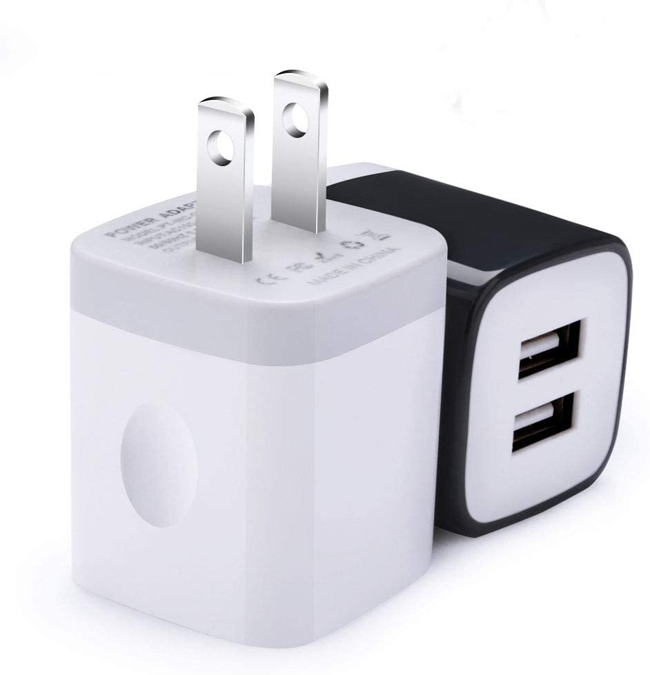 USB Wall Charger,Sicodo 2-Pack Universal 2.1A Home Travel Quick Wall Plug Charger Cubes Compatible with iPhone X,8,7 Plus,6 Plus,Tablet,Samsung Galaxy S9,S8 Plus,S7 Edge,HTC,Nokia,LG,Sony and More