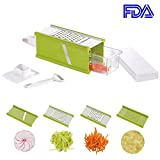 4 sided box grater - Smile mom 4-Sided Box Grater, 5 in 1 Versatile Kitchen Vegetable Grater Slicer Cutter, for Onion Cucumber Carrot Potato Cheese, Kitchen Tools Set with Peeler & Container, B202, Green-White