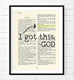 I Got This, God, Psalm 55:22, Cast Your Cares on the Lord, Christian Unframed Reproduction Art Print, Vintage Bible Verse Scripture Wall and Home Decor Poster, Encouragement Gift, 5x7 Inches
