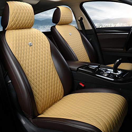 (Light Tan Universal Seat Covers Leather Seat Cushions 2/3 Covered 11PCS Luxury Seat Protector Universal for Car/Auto/Truck/SUV/Van (A-Light Tan))