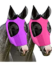 Horse Fly Mask with Ears, Smooth and Elasticity Fly Masks for Horses with UV Protection (Purple, Pink) 2 Pcs