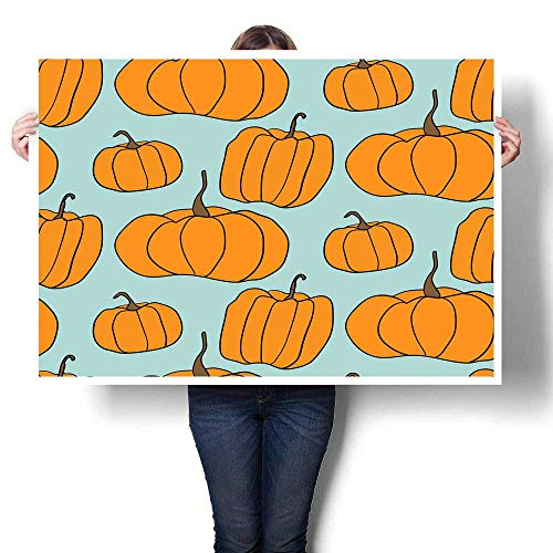 Wall hangings Halloween Pumpkin Vector Pattern Simple Illustration of Halloween Pumpkins for Web Page Background Wrapping Paper Decorative Fine Art Canvas Print Poster K 32
