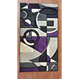 Modern Area Rug Purple &Grey Design #322 Contempo (2ft.8in.X4ft.7in..)