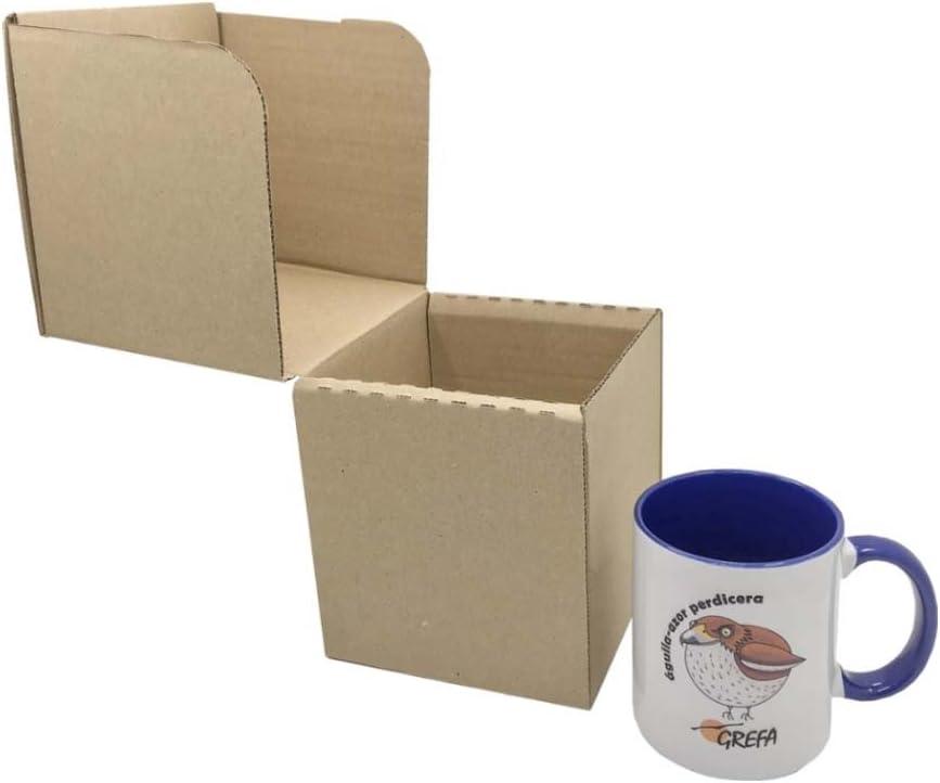 Caja de Cartón para Tazas 12,3 x 12,3 x 13,5 cm (Paquete de 10 Cajas) - Color Marrón. Para Uso Particular o Venta Online. Envíos o Mudanzas. Fabricadas en España. Normativa AFCO.