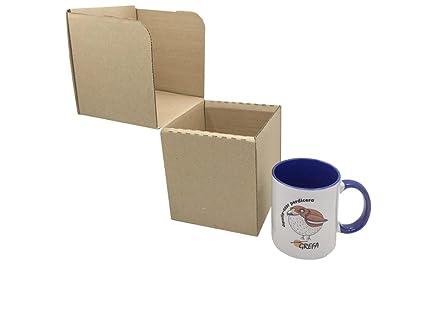 Caja de Cartón para Tazas 12,3 x 12,3 x 13,5 cm (Paquete de 10 Cajas) - Color Marrón. Para Uso Particular o Venta Online. Envíos o Mudanzas. ...