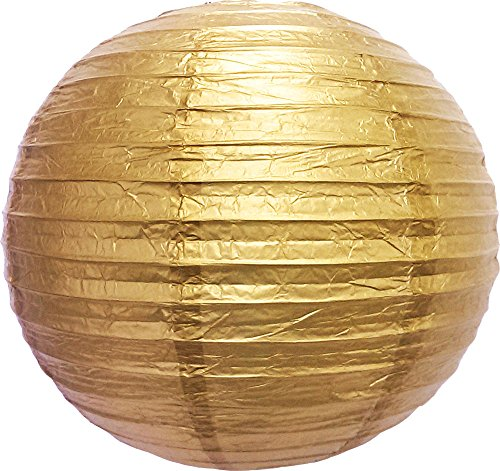 PaperLanternStore.com 12' Gold Round Paper Lantern, Even Ribbing, Hanging Decoration