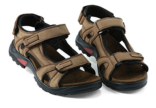 Summer Casual Beach Hiking Mens AGOWOO Vintage Leather Khaki Sandals qC5Xtw