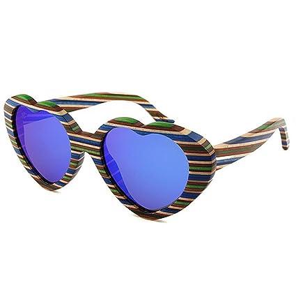 39b892c4a5 Aihifly Gafas de Sol Heart Shape Women's Color Strips Gafas de Sol de  Madera Hechas a