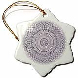 3dRose Andrea Haase Art Illustration - Blue Mandala Ornament Pattern - 3 inch Snowflake Porcelain Ornament (orn_268369_1)