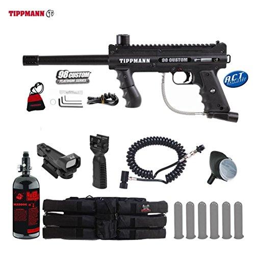 MAddog Tippmann 98 Custom ACT Platinum Series Tactical HPA Red Dot Paintball Gun Package - Black