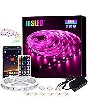 Taśmy LED, diody LED JESLED 5m SMD 5050 RGB Zestaw zmieniający kolor, synchronizacja muzyki przez Bluetooth, sterowanie aplikacją, pilot 44key, do domu, kuchni, imprezy, świąt