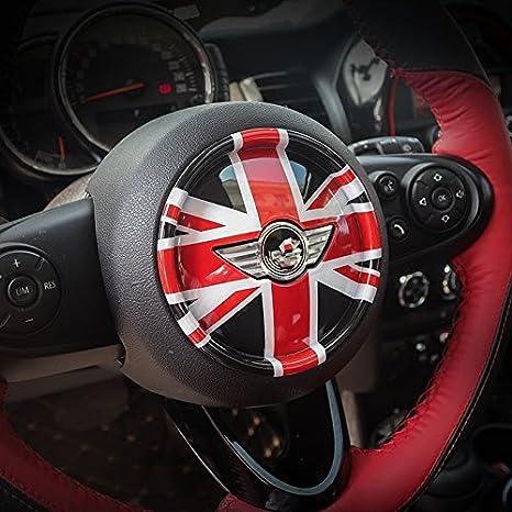 LVBAO 3D Steering Wheel Cover Dashboard Trim Sticker for BMW Mini Cooper ONE S JCW F Series F54 F55 F56 F57 F60 Countryman Clubman Union Jack 07