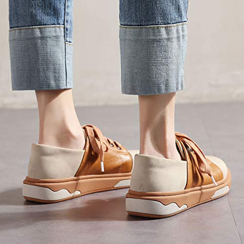 Chaussures Flat Lace en Chaussures 's Casual Sneakers Cuir Fashion Women Sweet New Up Printemps Respirant Brown PU xtOwYpw