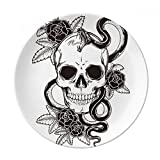 Animal Skull Snake Sketch Pattern Dessert Plate Decorative Porcelain 8 inch Dinner Home