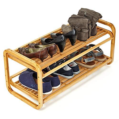 bambuswald© Schuhregal aus 100% nachhaltigem Bambus | Schuhablage (ca. 75x33x33cm) stapelbar – Schuhschrank Regal…