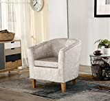 FoxHunter Modern Crush Velvet Fabric Tub Chair Armchair Lounge Dining Living Office Room Home Furniture TC12 Cream New