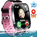 Kids Smart Phone Watch, IP67 Waterproof GPS Tracker Watch for 3-12 Year Girls Boys Two-Way Call SOS Camera Games Swim Camp Activity Tracker Electronic Learning Toy for Back to School Gifts